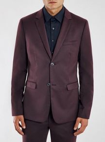 Topman Skinny fit flannel suit jacket