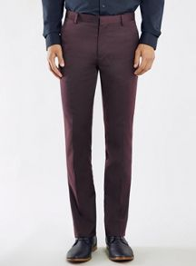 Skinny fit flannel suit trousers
