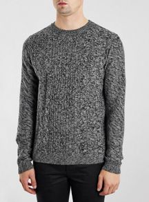 Topman Twist cable crew neck jumper