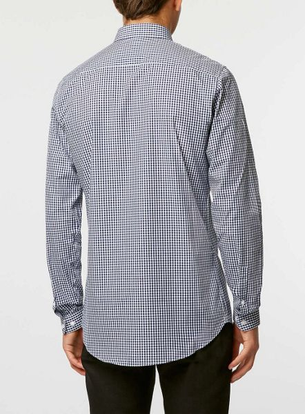 Topman Long sleeve gingham button down shirt