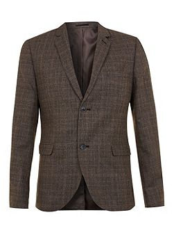 Check skinny fit suit jacket