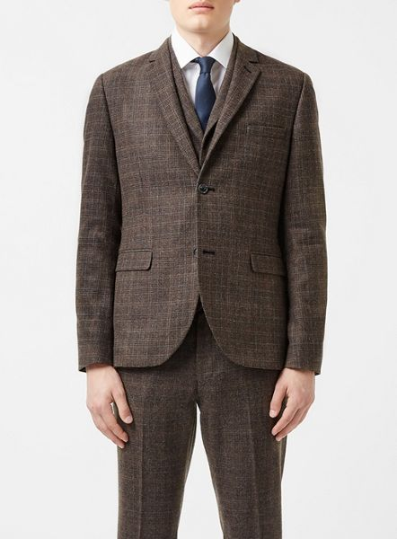 Topman Check skinny fit suit jacket