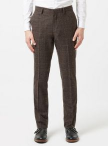 Topman Check skinny fit suit Trousers