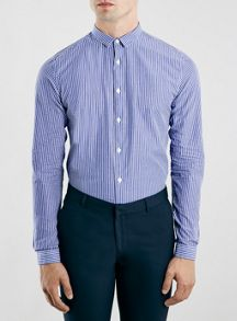 Topman Striped long sleeve smart shirt