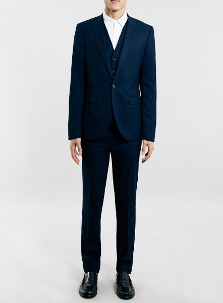Topman Ultra skinny fit textured suit trousers