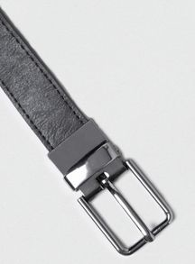 Leather look reversible belt