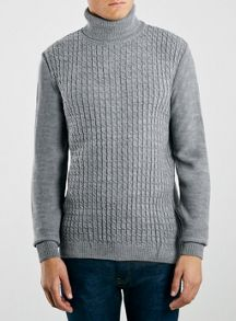 Topman Grey Marl Rollneck Jumper