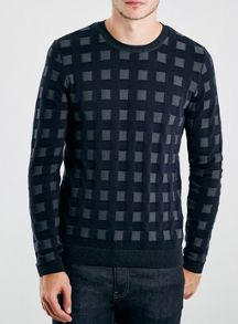 Topman Square design crew neck jumper