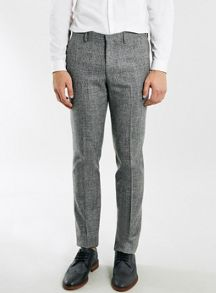 Topman Skinny fit textured suit trousers