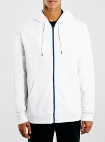 Topman Zip hoodie with blue zip