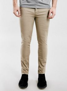 Topman Stone stretch skinny chino