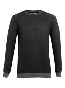 Topman Black/Grey Knit Jumper