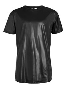 Topman Short sleeve wet look long line t-shirt