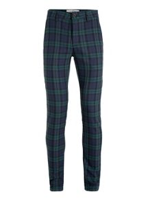 Topman Blue and teal check stretch skinny chino
