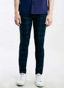 Blue and teal check stretch skinny chino