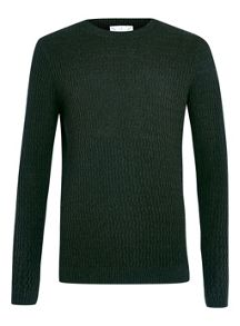 Topman Wavey vertical rib crew neck jumper