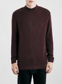 Topman Rib textured turtle neck jumper
