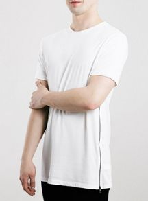 Topman Long line zips t-shirt