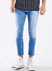 Topman Light wash ripped cropped stretch skinny jeans