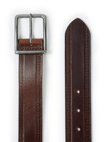 Brown embossed edge leather belt