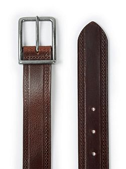 Topman Brown embossed edge leather belt
