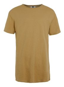 Topman Short sleeve slubby long line t-shirt