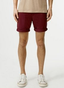 Topman Burgundy skinny chino shorts
