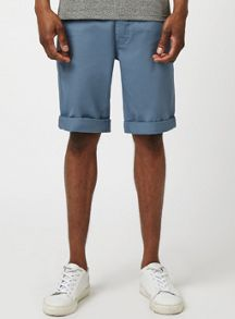 Topman Blue longer length skinny chino shorts