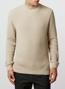 Rib textured turtle neck jumper