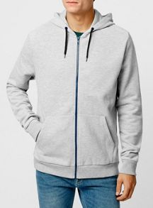 Topman Long sleeve zip through hoodie.