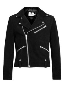 Suede black biker jacket