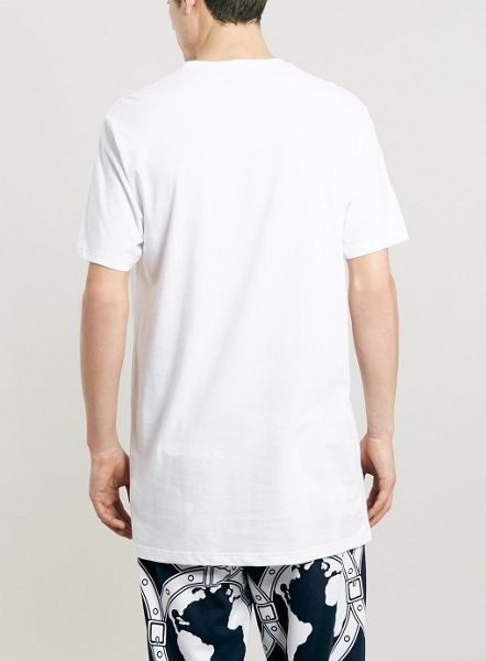 Topman White Stepped Hem Longline T-Shirt