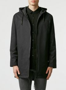 Topman Black lightweight hooded parka