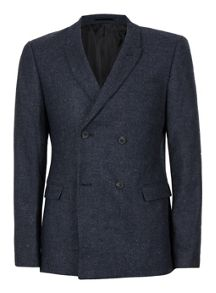 Topman Navy Wool Blend Double Breasted Blazer