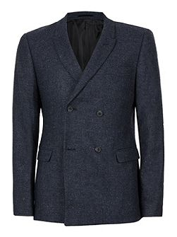Navy Wool Blend Double Breasted Blazer