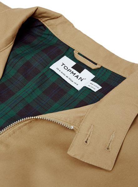Topman Harrington Jacket with Check Lining
