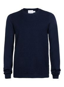 Topman Premium Textured Panel Crew Neck Jumper