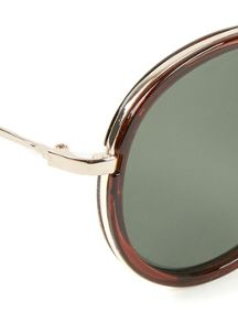 Topman Brown Round Aviator