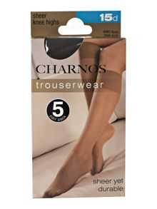 Charnos Sheer 15 Denier knee highs 5 pair pack