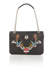 Charming black print shoulder bag