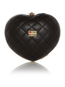 Evening black quilted heart shoulder bag