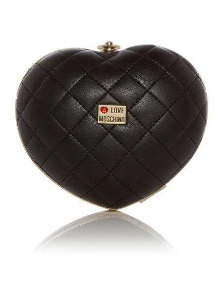 Love Moschino Evening black quilted heart shoulder bag