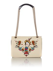 Charming neutral print shoulder bag