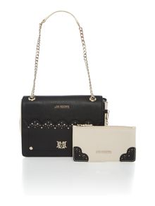 Monochrome detachable clutch shoulder bag