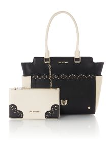 Monochrome cutout tote bag