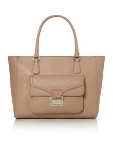 Taupe large tote bag