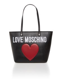 Black large heart tote bag