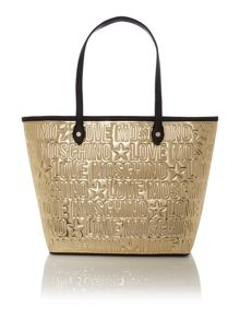 Embossed gold tote bag