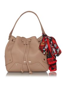 Taupe scarf cross body bag