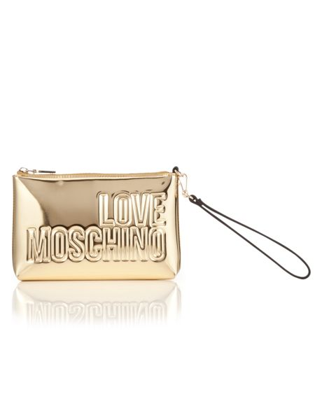 Love Moschino Gold embossed clutch bag